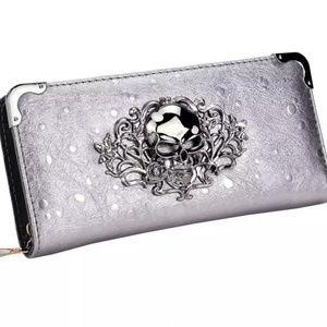 Handbags - PEWTER SKULL WALLET/CLUTCH